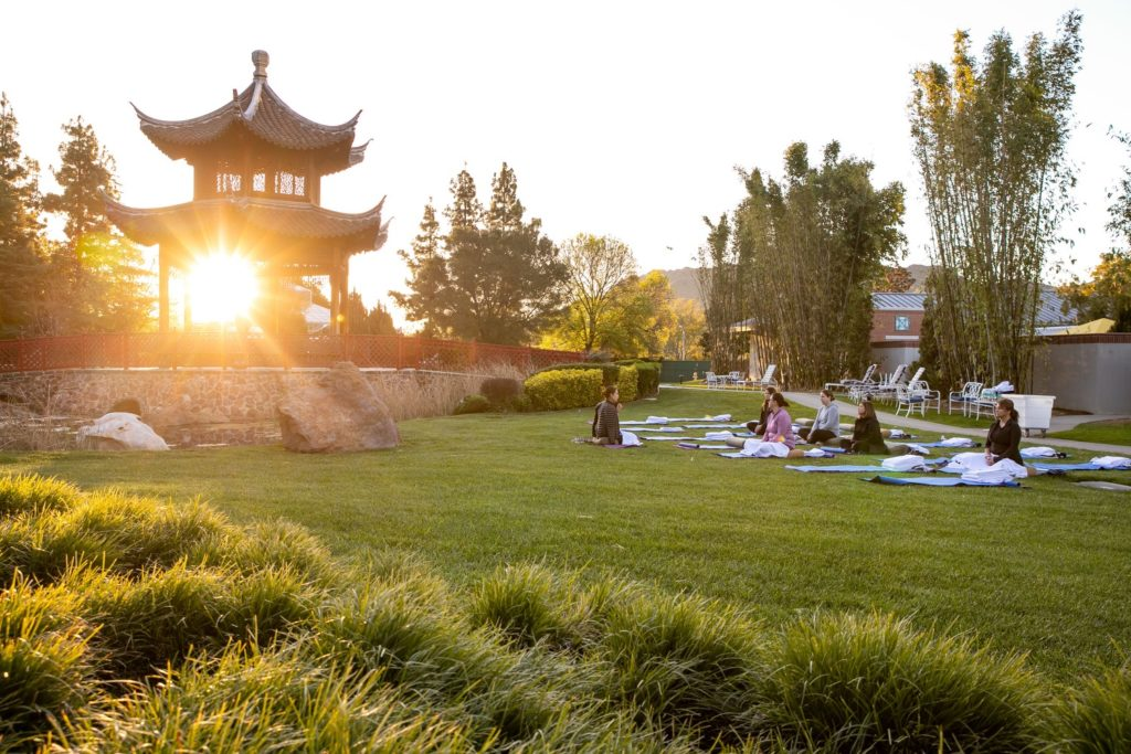Sunlight passing through a pagoda while a yoga session takes place with several women